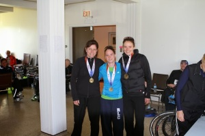 TIna Steele, Jess Sheppard and Kat Ahokas pose with first place team medals at Sunnybrook 8k XC Race