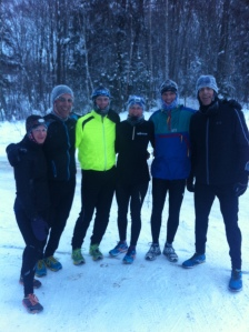 Jess Sheppard, Pierre Mikhail, Roger Penney, Kat Ahokas, Mark Sinnige and Troy Cox (L to R) Show Off their Icicles after at 6:30 am  Steady State Run at -24C