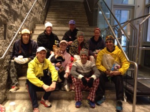 MARS Runners in Throway Clothes Before Boarding Bus To Hopkinton