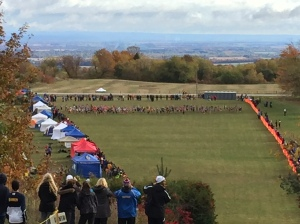 350 Runners at the start of a high school XC race