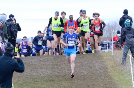 Josh Stevens leads the Senior Mens race at Canadian XC Championships