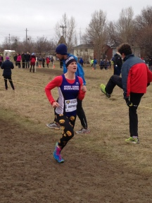 """Def Sheppard"" in the Senior Women's Race in her trademark Burger Tights"